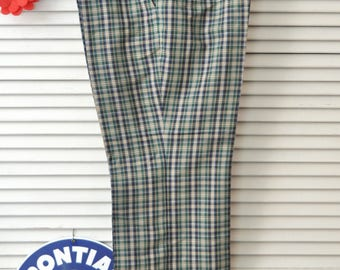 Vintage Mens 60s 70s Leisure Slacks/Dress Pants/Green Blue Plaid Pattern Thomson/Nerd-Geek Costume/4 Pocket/Sports Golf 36x27 Caddy Shack