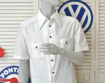 Vintage Mens Shirt 60s Rockabilly Hipster/Atomic Swag/Capri David Langman/Short Sleeve/White with Navy Blue Contrast Stitch/Med Large