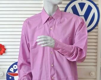 Vintage Men's Shirt 60's-70s  Long Sleeve Dress Shirt Lavender Purple Button Front 1 Pocket Lancer of CA costume Prom Formal large