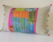 Bright Vintage Kantha Patchwork  Lumbar Cushion Cover , Recycled Kantha Pillow Cover with bright Pom Poms , Patchwork Kantha Cushion Cover