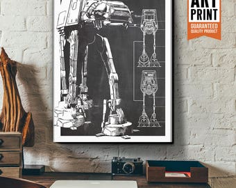 Star Wars Canvas - AT-AT - Canvas Art Print, Star Wars Art, Star Wars Patent Art, Fan Art, Star Wars Gift, Patent Art, Industrial decor
