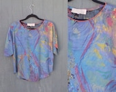 90s Dolman Top AMAZING Art Print Blouse PLATINUM by Dorothy Schoelen Slouchy Tee  Oversized 1990s Blouse  Rayon Blouse size S small Made USA