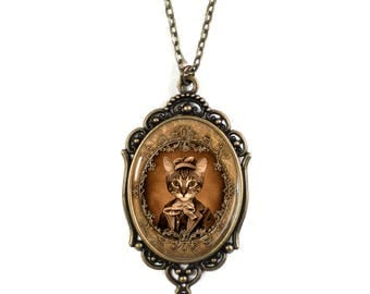 Steampunk Kitty Brass Cameo 30x40mm Necklace