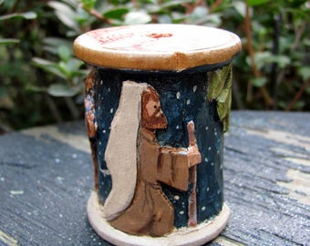 Hand Carved Vintage Wooden Sewing Spool - Nativity - Joseph and Pregnant Mary Riding on Donkey to Bethlehem Collectible Ornament Decoration