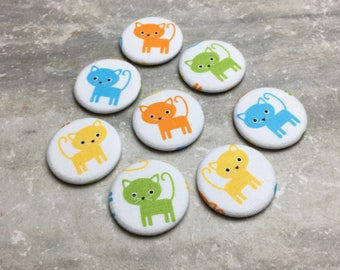 Cat Magnets - Colorful Cats - Set of 8- Refrigerator Magnets - Office Decor