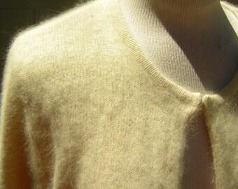 "ANGORA Cardigan Sweater Vintage Simple Cream Vanilla Dense Fuzzy Soft & Warm with Hidden Hook Front  46"" Bust"