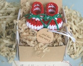 December Pregnancy Announcement, Baby's First Christmas, Grandparent Reveal, BOOTIES IN A BOX®, Baby Booties with Wood Ornament