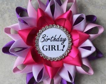 Birthday Girl Pin, Birthday Pin, Birthday Party Decorations, Birthday Gifts for Her, Keepsake Gift, Purple, Bubblegum, Orchid, Fuchsia