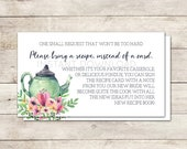 Bring a Recipe Card, Bridal Shower Recipe Card, Bridal Shower Card Insert, Recipe for the Bride to Be, Bridal Shower Tea, Printable No. 1018