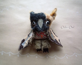 Odin Owl  , soft art  creature  toy by  Wassupbrothers, buho, boho lacy, soft friend, stuffed textile doll forest woodland scrappy artsy