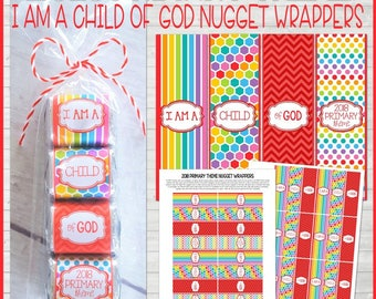 2018 PRIMARY Theme Nugget Wrappers, I Am a Child of God, Handout or Birthday Gift Idea, 2018 LDS Primary Printables - Instant Download