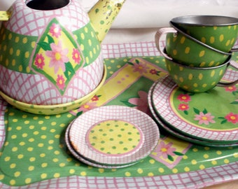 Child's Tea Party Set Tin Toy Dishes 1960s Pink and Green Flowers & Polka Dots  Serving Tray Cups Saucers Plates Teapot Tea Pot