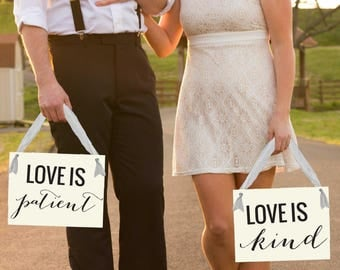 "Wedding Sign ""Love Is Patient Love Is Kind"" Set of 2 