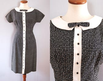 50s black dress -  vintage mid century geometric dot print sheath cotton button down white peter pan collar bow tie retro pinup wiggle fit
