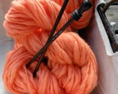 Hand-spun 100% wool yarn - thick & thin style - color APRICOT
