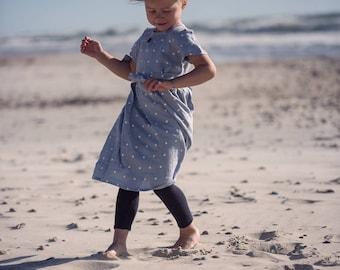 Light blue dress for girl - Flower girl dress - polka dot dress - toddler linen dress - linen girl dress - birthday dress - baby linen dress