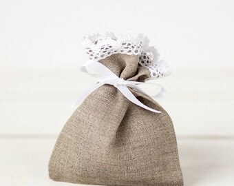 Linen favor bags set 10 - Wedding favor bags - Linen lace wedding favor gift bags - Baby shower bags - Christmas Gift bags