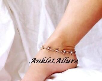 Ankle Bracelet Anklet Rose Gold Anklet Beach Anklet Flower Anklet GUARANTEED