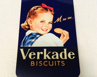 Vintage HOLLAND VERKADE Tin Box Biscuits Navy Blue Girl Collectible