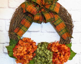 Fall Wreath, Hydrangea Wreath, Front Door Wreath, Fall Decor, Autumn Wreath, Autumn Decor