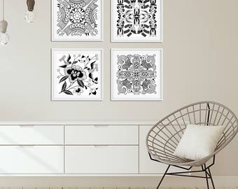 Black and White Wall Art Prints, Set of 4 Bird Flower Art Dining Room Wall Art, Bedroom Wall Art Set, Living Room Square Art, Scandinavian