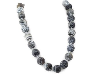 """Carved Lava Rock Necklace Hand Knotted with Sterling Silver 925 Lock 19.5"""""""