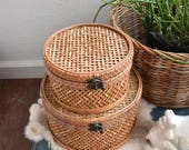 woven wicker rattan nesting basket box with locks | set of 2