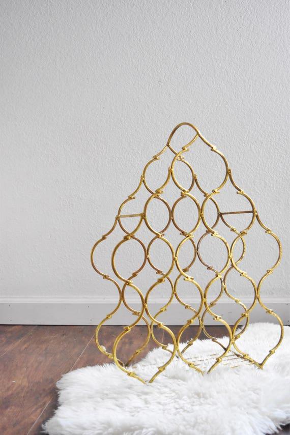 hollywood regency ornate gold metal wine bottle rack