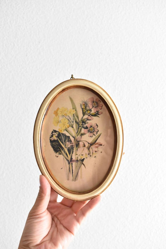framed wooden antique old floral picture print / wall hanging