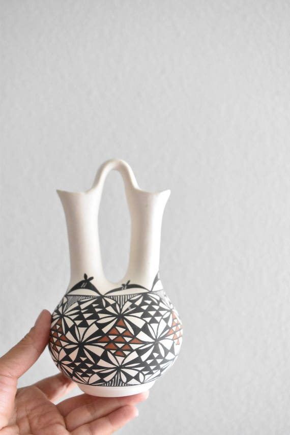 vintage native american acoma black hand painted pottery wedding water pitcher vessel / vase
