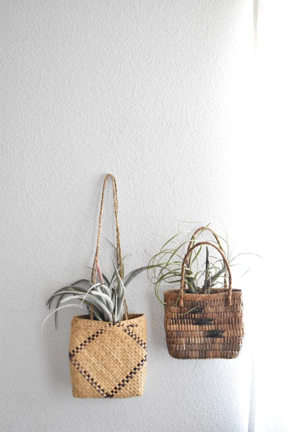 woven straw purse tote basket bags / wall hanging baskets