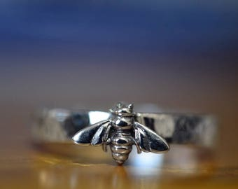 Silver Bee Ring, Custom Engraved Honeybee Ring, Sterling Silver Ring, Bumblebee Jewelry, Personalized Gift, Insect Jewelry with Engraving