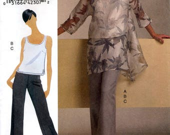 Vogue V8504 Sewing Pattern for Misses' Tunic, Top and Pants - Uncut - Sizes 8, 10, 12, 14