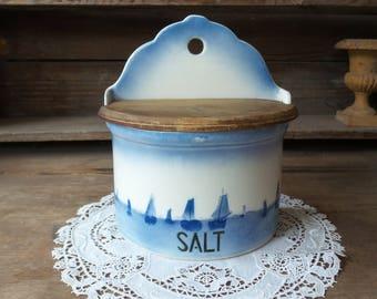 Vintage SALT BOX, Salt Box, White and Blue, Porcelain Salt Box, Hanging Box with Wood Lid,  Farm House Kitchen Decoration