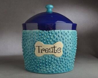 "Dog Treat Jar Ready To Ship ""Treats"" Extra Large Dog Treat Jar by Symmetrical Pottery"