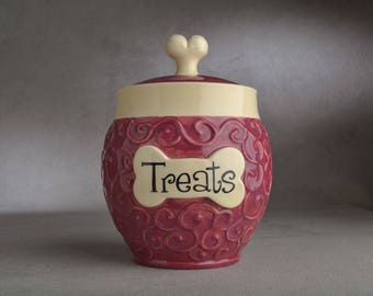 "Dog Treat Jar Ready To Ship ""Treats"" Cranberry Curls Treat Jar by Symmetrical Pottery"