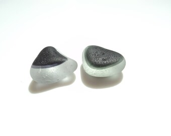 Collectors Seaglass - Two sea glass multies - triangles - Grey and Clear White - E1734 -  from Seaham beach,  UK