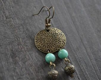 Boucles d'oreilles pendantes - Boucles d'oreilles bohémiennes - Boho chic - Amazonite africaine - Bijou boho - Coco Matcha