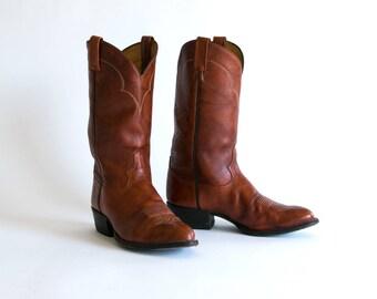 Vintage 1980's Tony Lama Tall Leather Cowboy Boots/ Whiskey/ Western Wear Men's Size 9 / Retro Rockabilly
