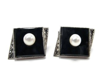 950 Silver Onyx Pearl Cufflinks, Sterling Silver, Black Onyx, Vintage Cuff Links, Suit Accessories, Mens Jewelry