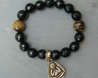 Mens Bracelet - Smoky Quartz/Tiger Eye/Brass/Gold