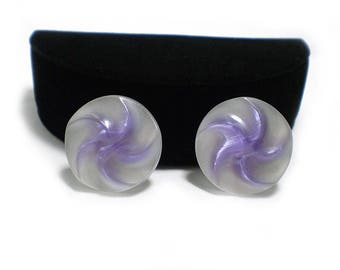 Purple and White Lucite Earrings, Pinwheel Design