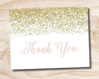 Brunch & Bubbly Confetti Glitter Bridal Shower Thank You Card Acknowledgment card