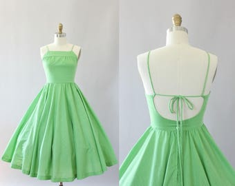Vintage 50s Dress/ 1950s Dress/ Lanz Green Polka Dot Cotton Dress w/ Open Back S