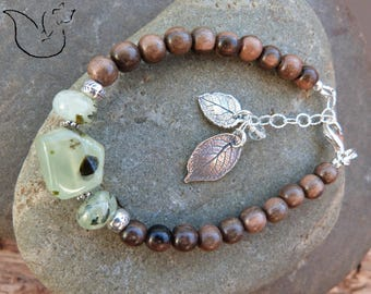 Silver bracelet exotic wood and stone prehnite veined leaf charms