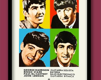 Vintage Beatles Poster .  1963 Spanish Promo . Large A2 60x40 cm  Print Classic Rock print . Beatles wall art . 60s music poster