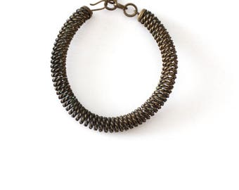 vintage coiled wire bracelet, brass coil bracelet