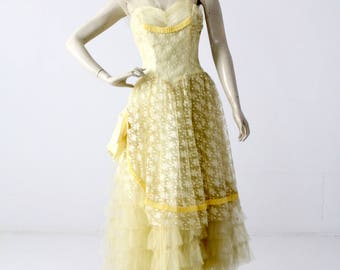 vintage 50s tulle dress, 1950s yellow prom dress