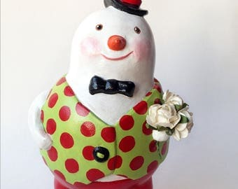 Handsome Dapper Snowman Gentleman with Winter Roses