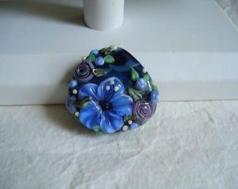 Blues Lampwork Floral Focal ~ DESTASH ~